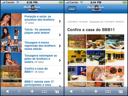 Site mobile do BBB - desenvolvido pela Mobits