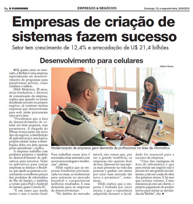 Mobits fala sobre o mercado mobile no Jornal O Fluminense