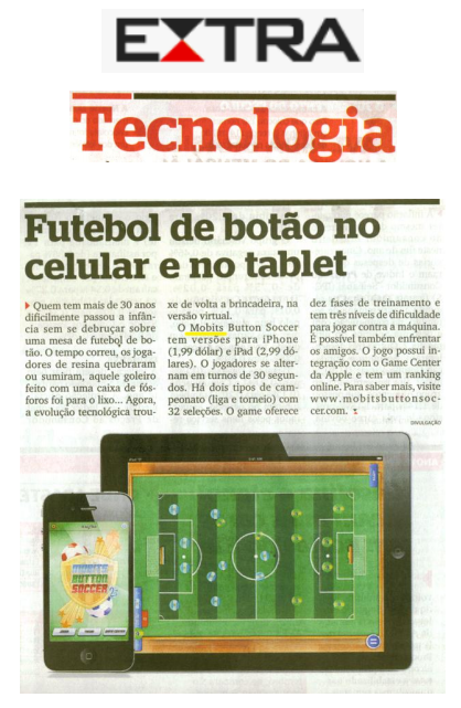 Mobits Button Soccer no jornal Extra