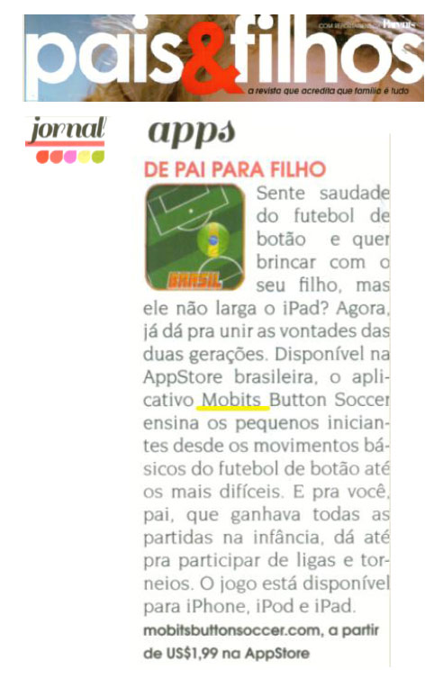 Mobits Button Soccer na revista Pais e Filhos