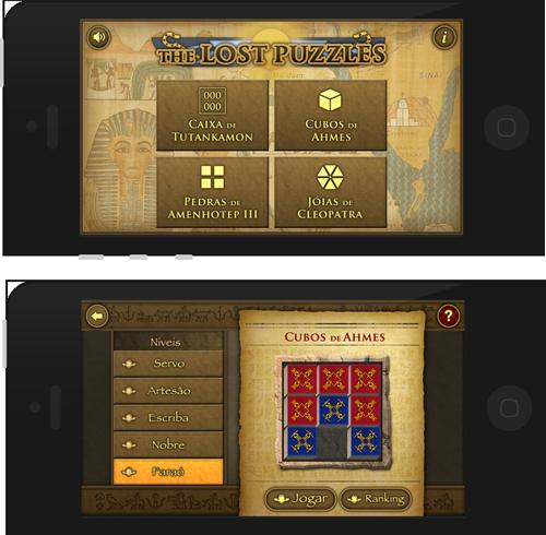 Telas da nova versão de The Lost Puzzles
